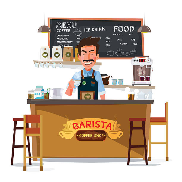 coffee bar and barista man. character design - vector - barista stock illustrations, clip art, cartoons, & icons