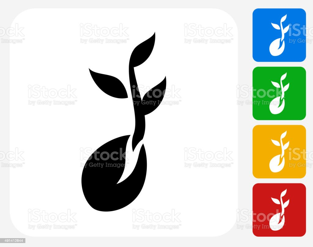 Coffee Bean Icon Flat Graphic Design vector art illustration