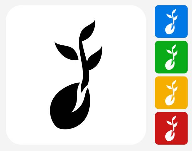 Coffee Bean Icon Flat Graphic Design vector art illustration