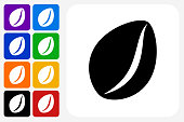 Coffee Bean Icon Square Button Set. The icon is in black on a white square with rounded corners. The are eight alternative button options on the left in purple, blue, navy, green, orange, yellow, black and red colors. The icon is in white against these vibrant backgrounds. The illustration is flat and will work well both online and in print.