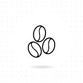 Coffee bean icon. Coffee beans icon in line style design. Flat line illustration of coffee. Coffee icon vector illustration