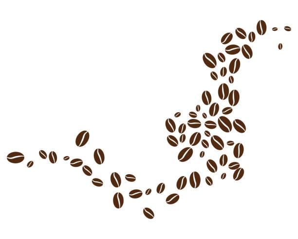 coffee bean icon vector - ziarno kawy palonej stock illustrations