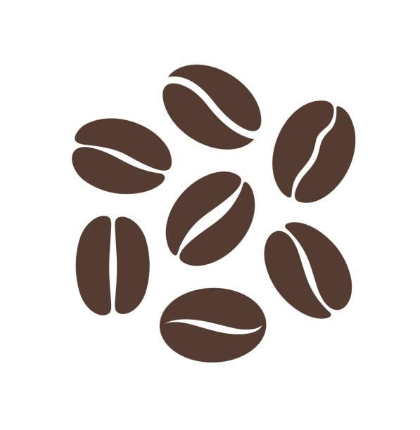 logo ziarno kawy. izolowana fasola kawowa na białym tle - coffee stock illustrations