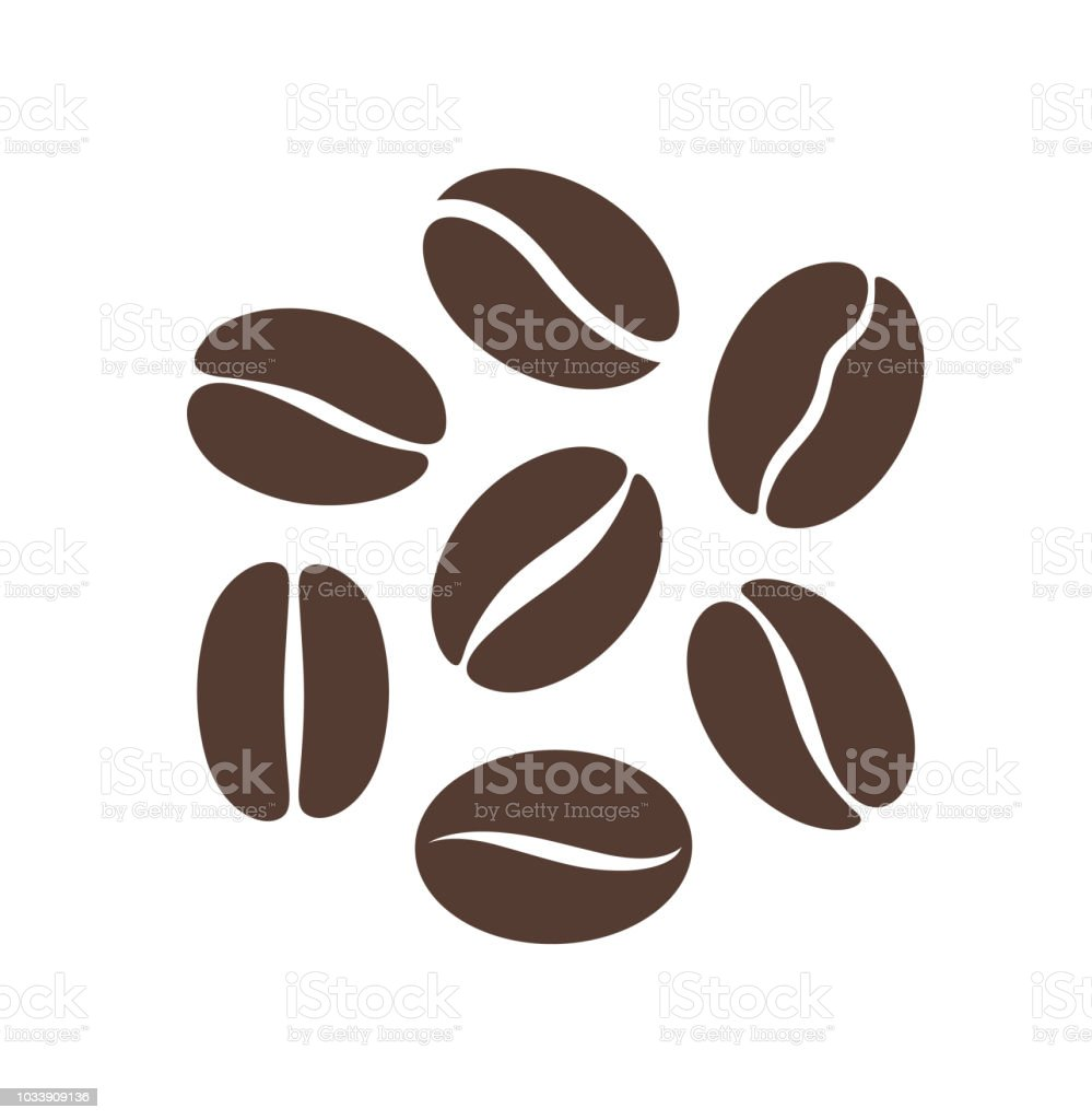 Coffee bean logo. Isolated coffe beans on white background vector art illustration