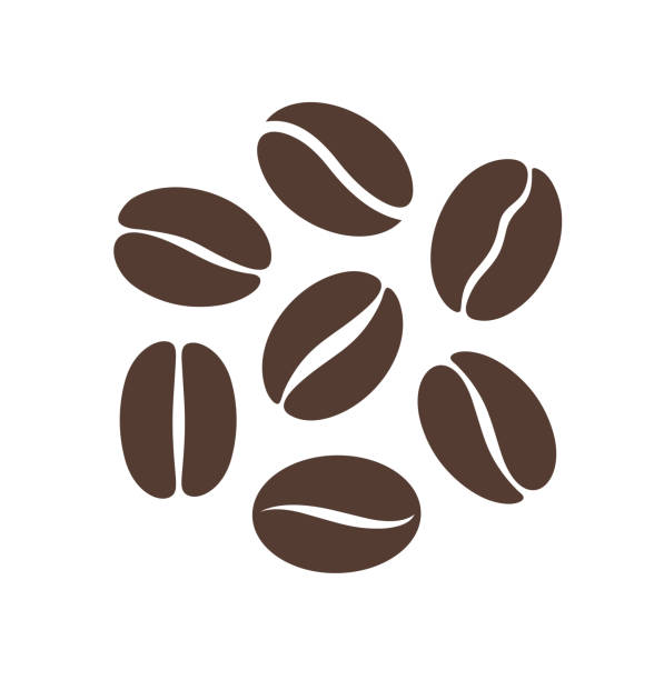 ilustrações de stock, clip art, desenhos animados e ícones de coffee bean logo. isolated coffe beans on white background - cereal