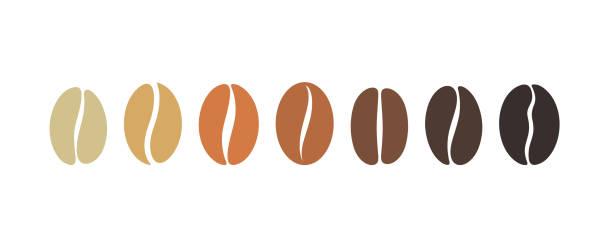 illustrazioni stock, clip art, cartoni animati e icone di tendenza di coffee bean set. isolated coffe beans on white background - caffè