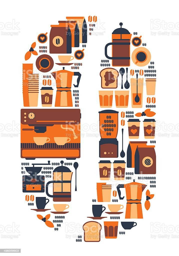 Coffee bean silhouette. royalty-free stock vector art