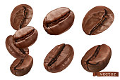 Coffee beans. 3d realistic vector set