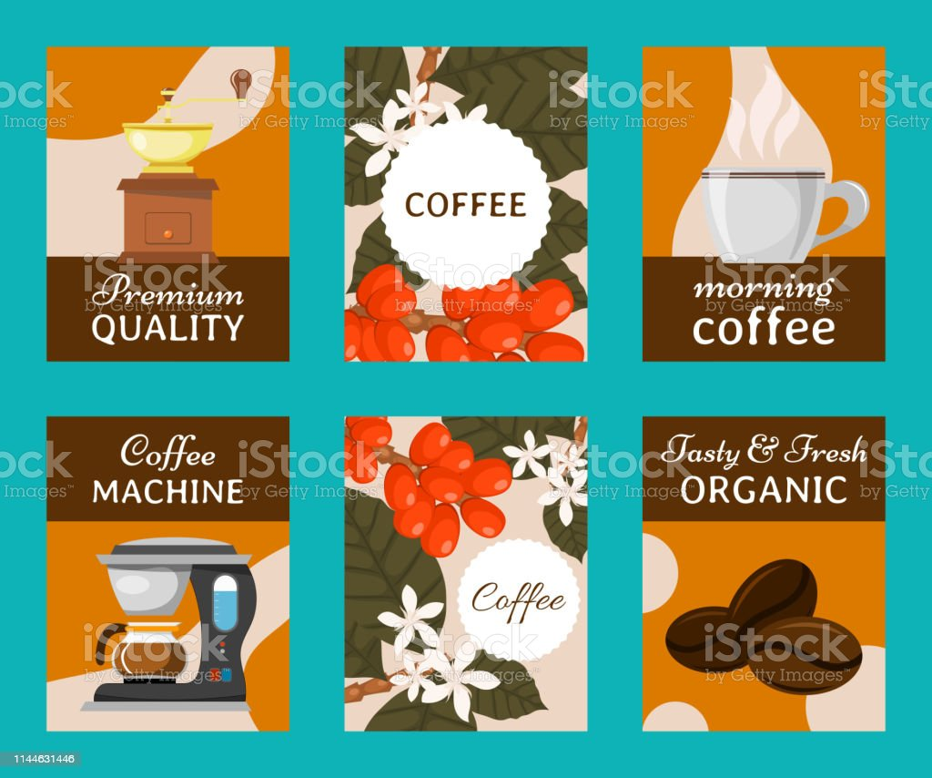 Coffee beans and equipment set of cards vector illustration. Morning...