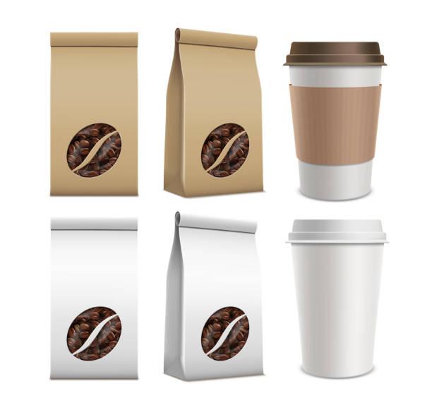 ilustrações de stock, clip art, desenhos animados e ícones de coffee beans and plastic containers. - café solúvel