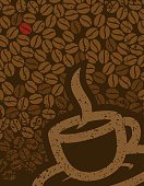 coffee beans and coffee cup background