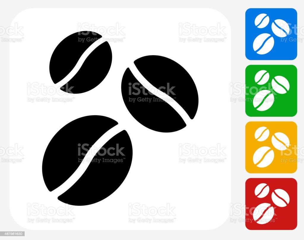 Coffee Beans Icon Flat Graphic Design vector art illustration