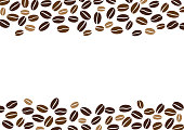 Coffee beans isolated on white background. Background with space for text writing.Vector illustration