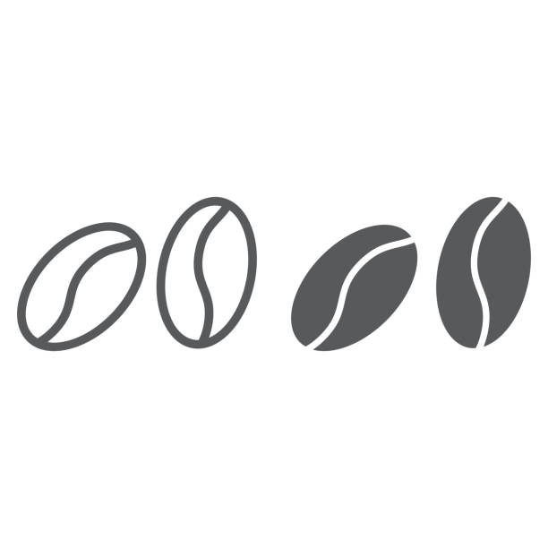 kaffeebohnen-linie und glyphe symbol, kaffee und café, vektorgrafiken arabische zeichen, ein lineares muster auf weißem hintergrund, eps 10. - zeichensetzung stock-grafiken, -clipart, -cartoons und -symbole