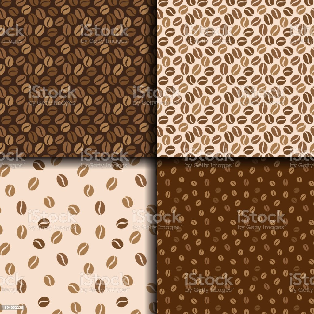 Coffee beans seamless background. Set of four patterns with coffee. Vector design. - Grafika wektorowa royalty-free (Abstrakcja)