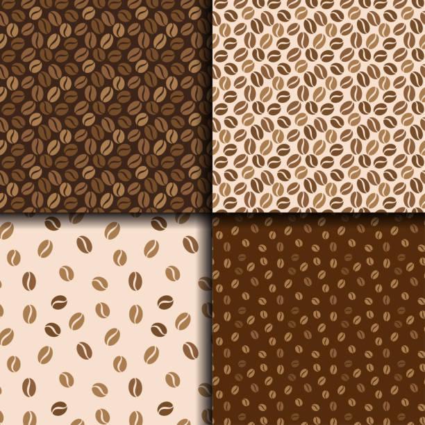 kaffeebohnen nahtlose hintergrund. satz von vier muster mit kaffee. vektor-design. - café stock-grafiken, -clipart, -cartoons und -symbole