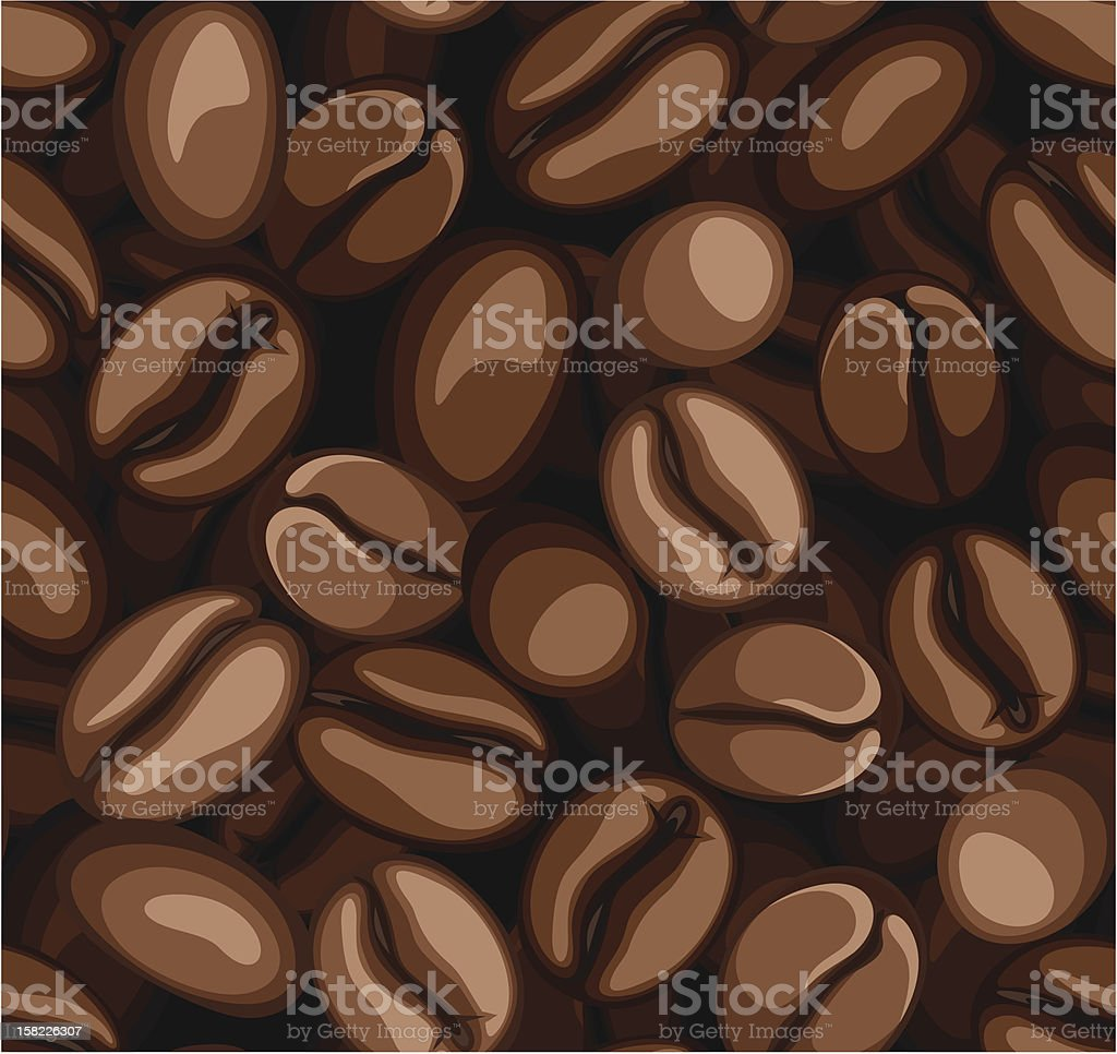 Coffee beans seamless background. Vector illustration. royalty-free stock vector art