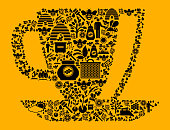 Coffee  Bee and Honey Vector Icon Background. The main image is composed of honey bee icons of various sizes. The bee and honey farm icons are in black and the background is yellow in color. This creates a nice contrast and the composition stands out. The icons are unified by a common theme and are perfect for Honey industry conceptual illustration and backgrounds.