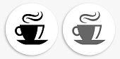 Coffee Black and White Round Icon. This 100% royalty free vector illustration is featuring a round button with a drop shadow and the main icon is depicted in black and in grey for a roll-over effect.