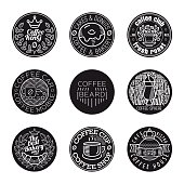Coffee shop logo vintage icon set. Hipster and retro style.