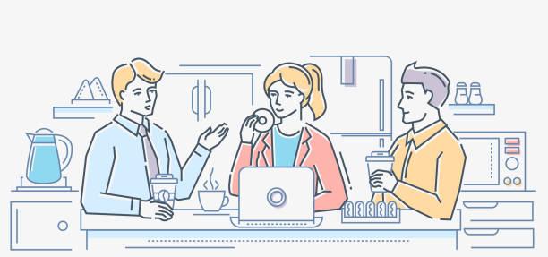 kaffeepause - bunte linie design-stil-darstellung - küchensystem stock-grafiken, -clipart, -cartoons und -symbole