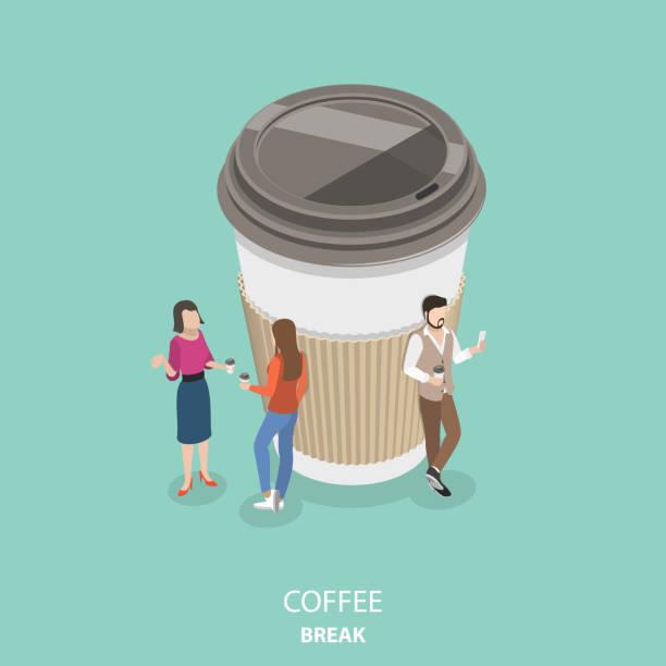 ilustrações de stock, clip art, desenhos animados e ícones de coffee break flat isometric vector concept. - pausa para café