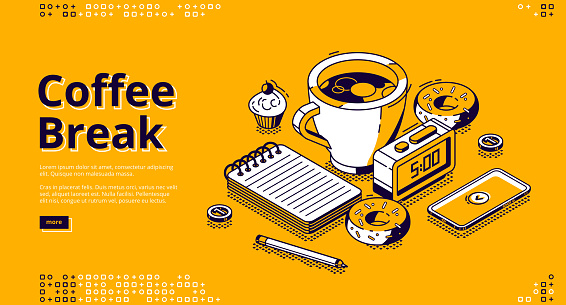 Coffee break isometric landing page, web banner