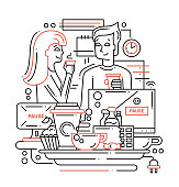 Illustration of vector modern line flat design coffee break composition and infographics elements with man and woman drinking coffee in the office