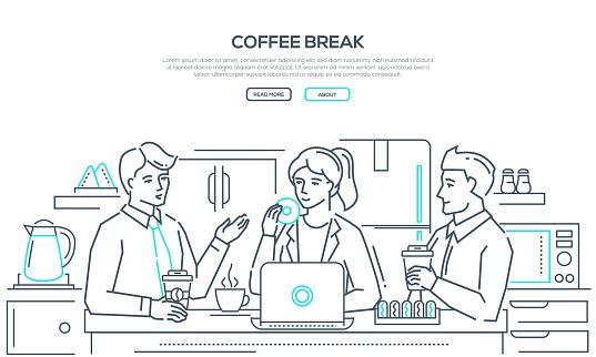 Coffee break - modern line design style banner clipart