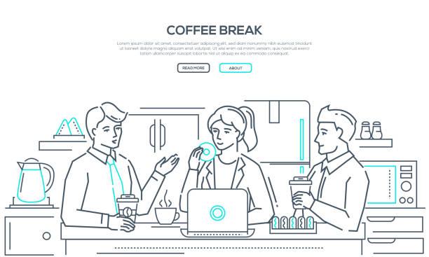 kaffeepause - moderne linie design stil banner - küchensystem stock-grafiken, -clipart, -cartoons und -symbole