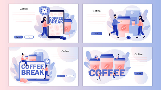 Coffee break. Tiny people businessmen relaxing, will be energized, talking and drinking coffee. Screen template for landing page, template, ui, web, mobile app, poster, banner, flyer. Vector