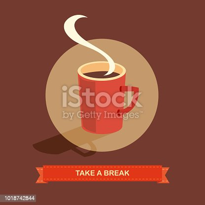 Vector of take a break with cup of coffee. EPS Ai 10 file format.
