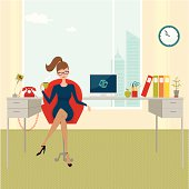 Young business woman at the office desk drinking coffee. Editable image. Elements are grouped on different layers.