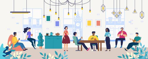 ilustrações de stock, clip art, desenhos animados e ícones de coffee break with colleagues in office flat vector - eating