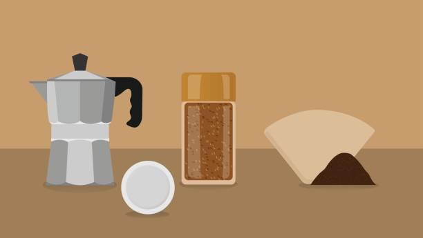ilustrações de stock, clip art, desenhos animados e ícones de coffee brewing methods flat design - café solúvel