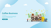 coffee business concept for website template with money investment growth and people - vector illustration