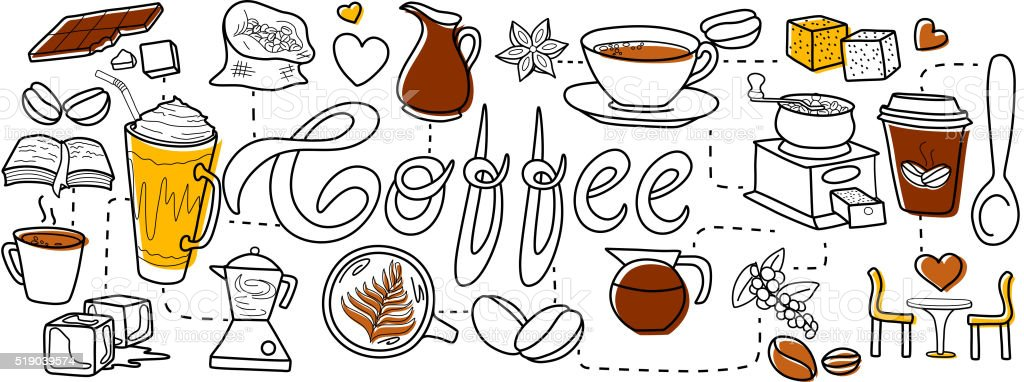 Coffee cafe concept for web design template vector art illustration