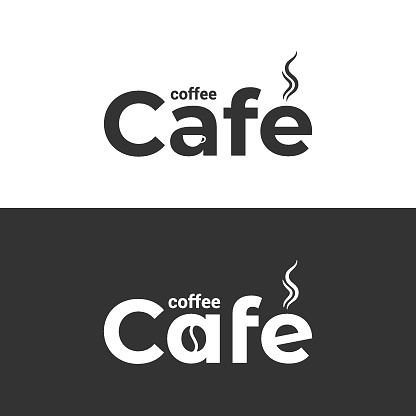 Coffee cafe logo. Coffee cup and bean label on black and white background