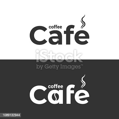Coffee cafe logo. Coffee cup and bean label on black and white background 8 eps