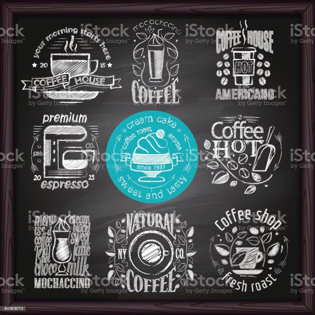 Coffee & Cafe logo on chalkboard vector art illustration