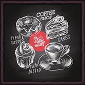 Coffee shop, cafe & bakery poster on blackboard