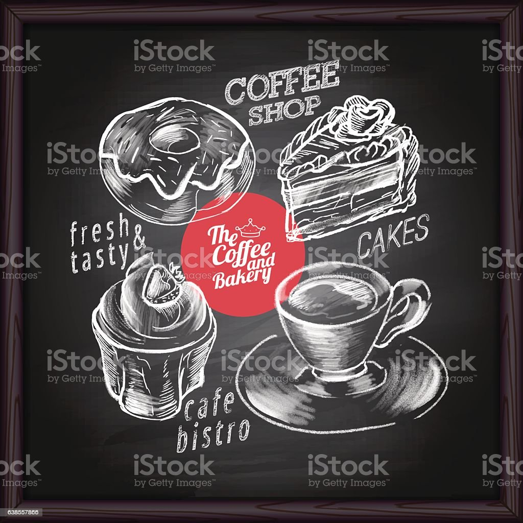 Coffee cafe menu and bakery on chalkboard vector art illustration