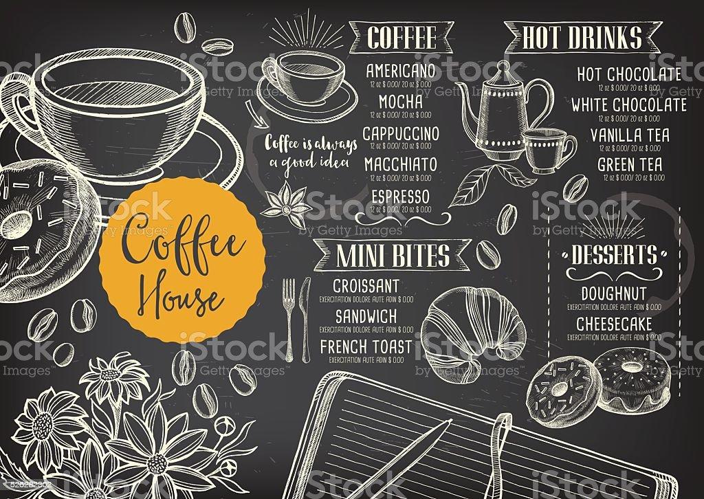 Café café menu, modelo de projeto. - ilustração de arte em vetor