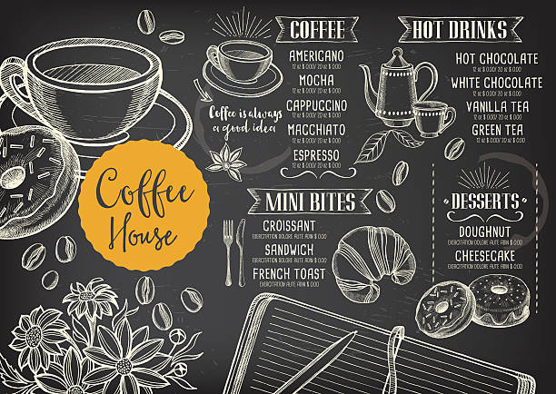 Coffee cafe menu, template design. Coffee restaurant brochure vector, coffee shop menu design. Vector cafe template with hand-drawn graphic. Coffee flyer. cafe stock illustrations