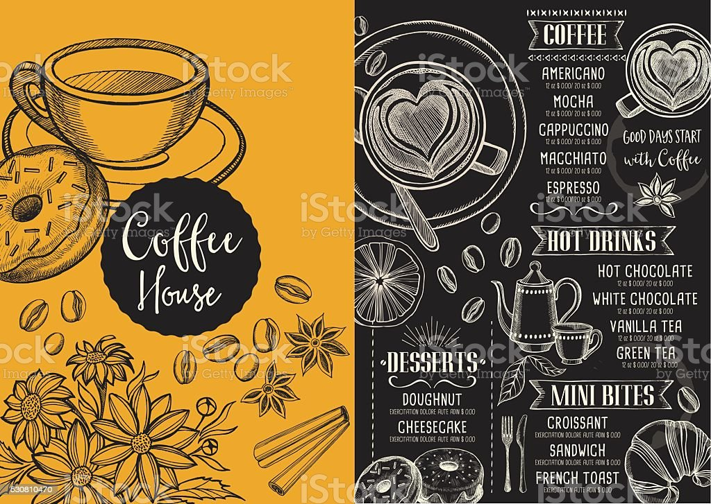 Coffee cafe menu template design stock vector art more images of coffee cafe menu template design royalty free coffee cafe menu template design stock maxwellsz