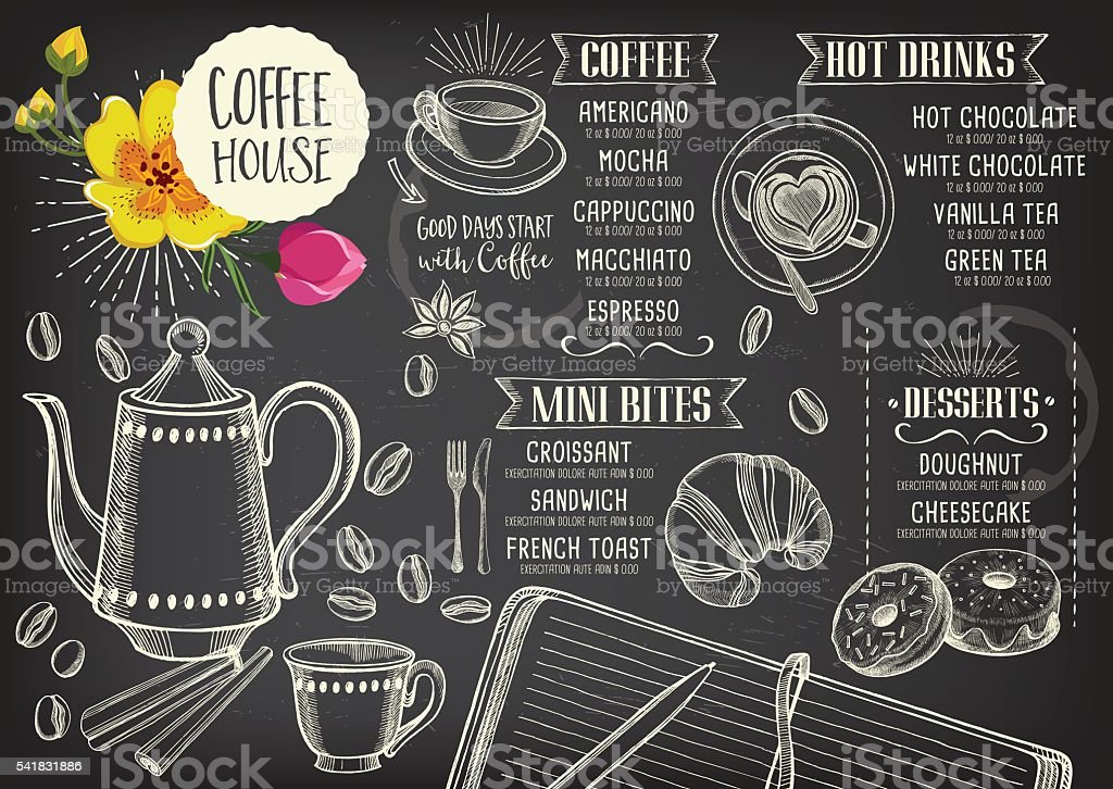 Coffee Cafe Menu Template Design Stock Vector Art