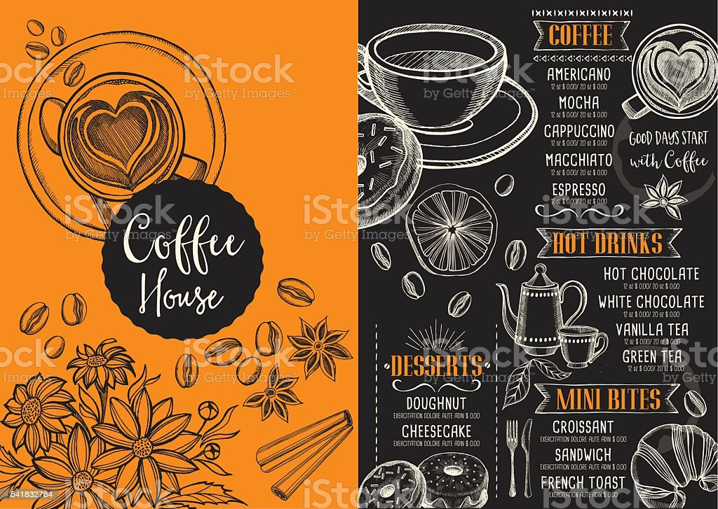 coffee cafe menu template design stock vector art more images of