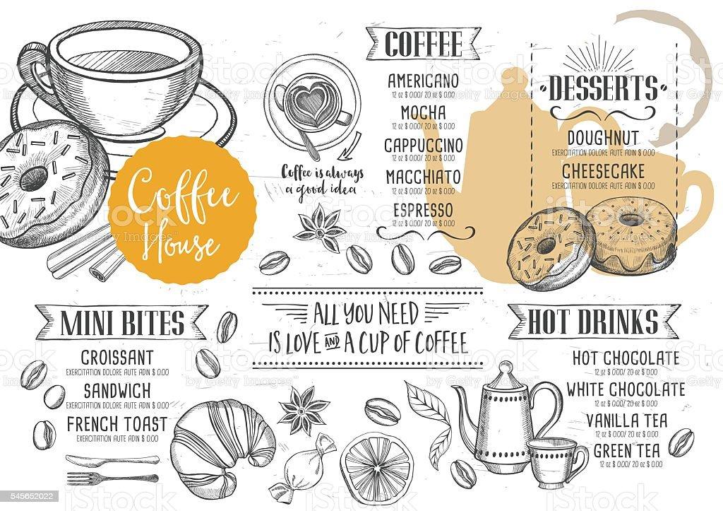 コーヒーカフェメニューテンプレートデザイン いたずら書きのベクター