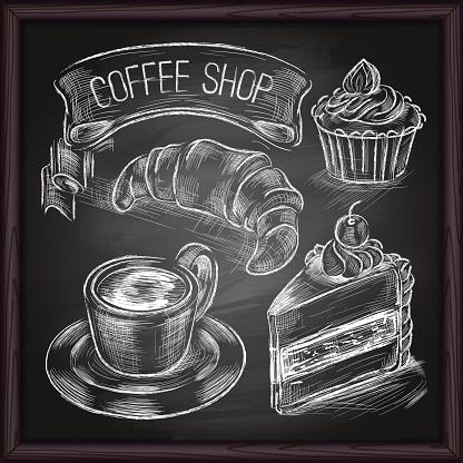 Coffee & Cafe set drawing on chalkboard