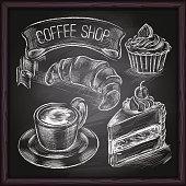 Coffee shop, cafe & bakery hand drawing on blackboard